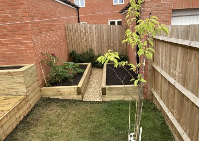 Some raised beds formed in an area unused previously within this garden.